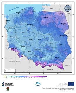 Maksymalna grubość pokrywy śnieżnej w II dekadzie marca o prawdopodobieństwie wystąpienia 10%