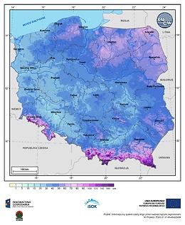 Maksymalna grubość pokrywy śnieżnej w II dekadzie marca o prawdopodobieństwie wystąpienia 1%