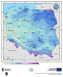 Maksymalna grubość pokrywy śnieżnej w III dekadzie marca o prawdopodobieństwie wystąpienia 10%