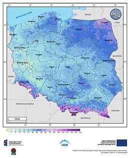 Maksymalna grubość pokrywy śnieżnej w III dekadzie marca o prawdopodobieństwie wystąpienia 1%