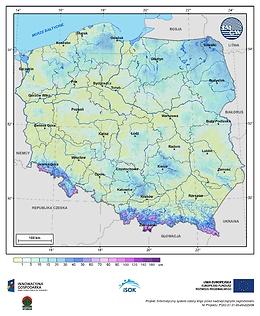 Maksymalna grubość pokrywy śnieżnej w I dekadzie kwietnia o prawdopodobieństwie wystąpienia 25%