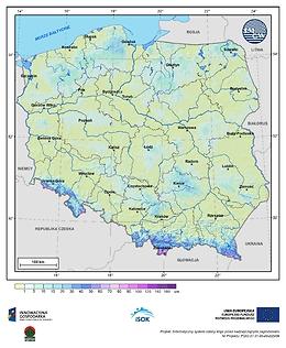 Maksymalna grubość pokrywy śnieżnej w III dekadzie kwietnia o prawdopodobieństwie wystąpienia 25%