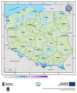 Maksymalna grubość pokrywy śnieżnej w I dekadzie maja o prawdopodobieństwie wystąpienia 25%