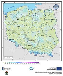 Maksymalna grubość pokrywy śnieżnej w II dekadzie maja o prawdopodobieństwie wystąpienia 1%