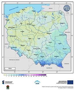 Maksymalna grubość pokrywy śnieżnej w II dekadzie października o prawdopodobieństwie wystąpienia 1%