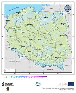 Maksymalna grubość pokrywy śnieżnej w III dekadzie października o prawdopodobieństwie wystąpienia 25%