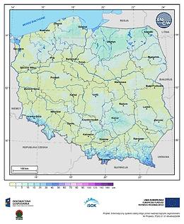 Maksymalna grubość pokrywy śnieżnej w III dekadzie października o prawdopodobieństwie wystąpienia 10%
