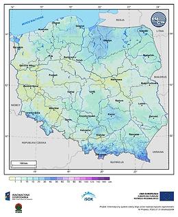 Maksymalna grubość pokrywy śnieżnej w III dekadzie października o prawdopodobieństwie wystąpienia 1%