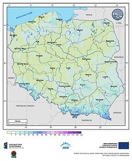 Maksymalna grubość pokrywy śnieżnej w I dekadzie listopada o prawdopodobieństwie wystąpienia 25%