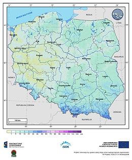 Maksymalna grubość pokrywy śnieżnej w II dekadzie listopada o prawdopodobieństwie wystąpienia 25%