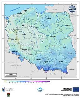 Maksymalna grubość pokrywy śnieżnej w II dekadzie listopada o prawdopodobieństwie wystąpienia 10%