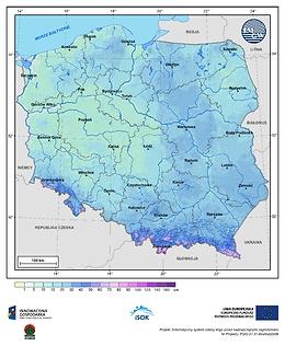 Maksymalna grubość pokrywy śnieżnej w II dekadzie listopada o prawdopodobieństwie wystąpienia 1%