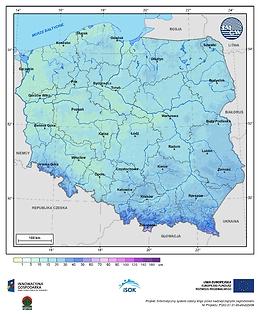 Maksymalna grubość pokrywy śnieżnej w III dekadzie listopada o prawdopodobieństwie wystąpienia 25%