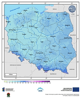 Maksymalna grubość pokrywy śnieżnej w I dekadzie grudnia o prawdopodobieństwie wystąpienia 25%