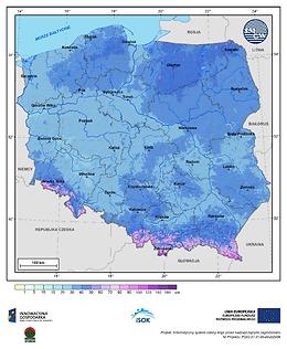 Maksymalna grubość pokrywy śnieżnej w II dekadzie grudnia o prawdopodobieństwie wystąpienia 1%