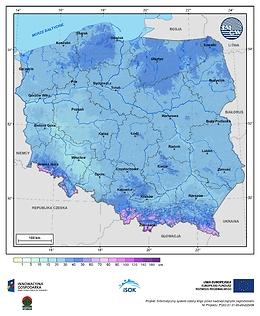 Maksymalna grubość pokrywy śnieżnej w III dekadzie grudnia o prawdopodobieństwie wystąpienia 25%