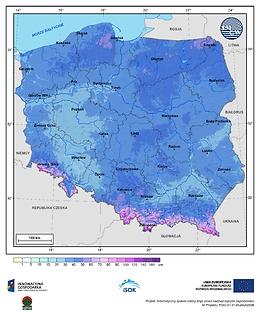 Maksymalna grubość pokrywy śnieżnej w III dekadzie grudnia o prawdopodobieństwie wystąpienia 1%