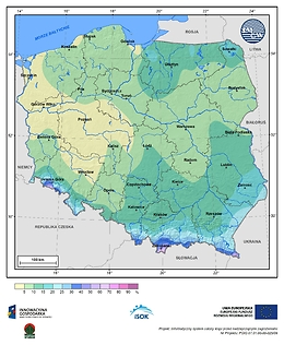 Prawdopodobieństwo wystąpienia dnia z pokrywą śnieżną w II dekadzie listopada