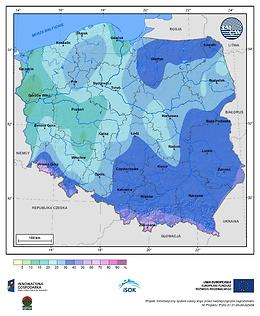Prawdopodobieństwo wystąpienia dnia z pokrywą śnieżną w III dekadzie listopada