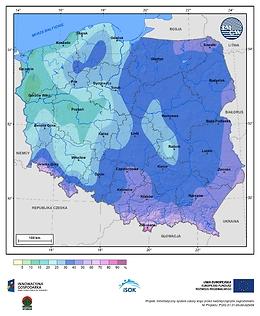 Prawdopodobieństwo wystąpienia dnia z pokrywą śnieżną w I dekadzie grudnia
