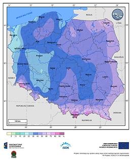 Prawdopodobieństwo wystąpienia dnia z pokrywą śnieżną w II dekadzie grudnia