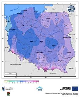 Prawdopodobieństwo wystąpienia dnia z pokrywą śnieżną w III dekadzie grudnia