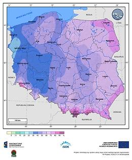 Prawdopodobieństwo wystąpienia dnia z pokrywą śnieżną w I dekadzie lutego