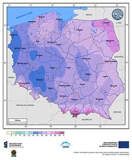 Prawdopodobieństwo wystąpienia dnia z pokrywą śnieżną w II dekadzie lutego
