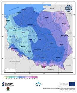 Prawdopodobieństwo wystąpienia dnia z pokrywą śnieżną w I dekadzie marca