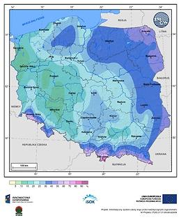 Prawdopodobieństwo wystąpienia dnia z pokrywą śnieżną w II dekadzie marca
