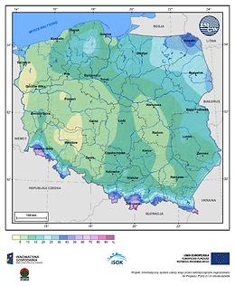 Prawdopodobieństwo wystąpienia dnia z pokrywą śnieżną w III dekadzie marca