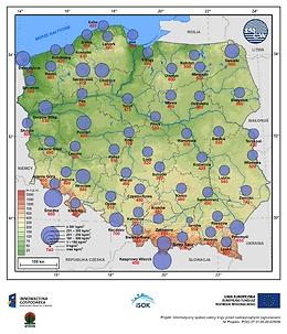 Średnia i maksymalna gęstość śniegu w I dekadzie lutego