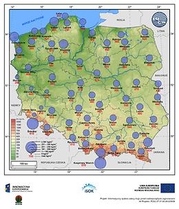 Średnia i maksymalna gęstość śniegu w II dekadzie lutego