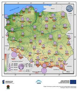 Średni i maksymalny zapas wody w pokrywie śnieżnej w I dekadzie lutego