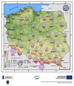Średni i maksymalny zapas wody w pokrywie śnieżnej w II dekadzie lutego
