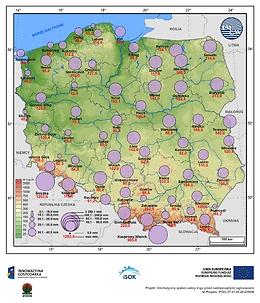 Średni i maksymalny zapas wody w pokrywie śnieżnej w II dekadzie marca