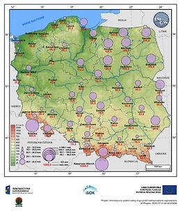 Średni i maksymalny zapas wody w pokrywie śnieżnej w III dekadzie marca