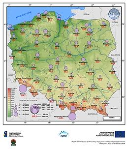 Średni i maksymalny zapas wody w pokrywie śnieżnej w II dekadzie grudnia