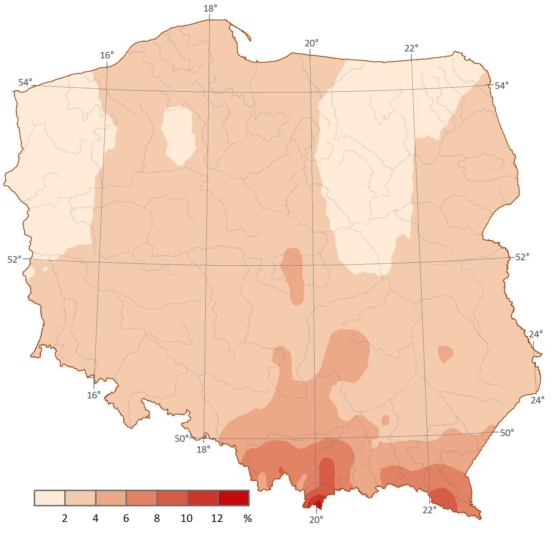 Prawdopodobieństwo wystąpienia opadu o sumie powyżej 30 mm w trzeciej dekadzie lipca