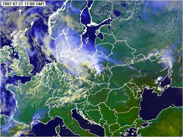 Zdjęcie satelitarne Europy Środkowej (kompozycja barwna) z dnia 22.07.2007 godz. 12 UTC