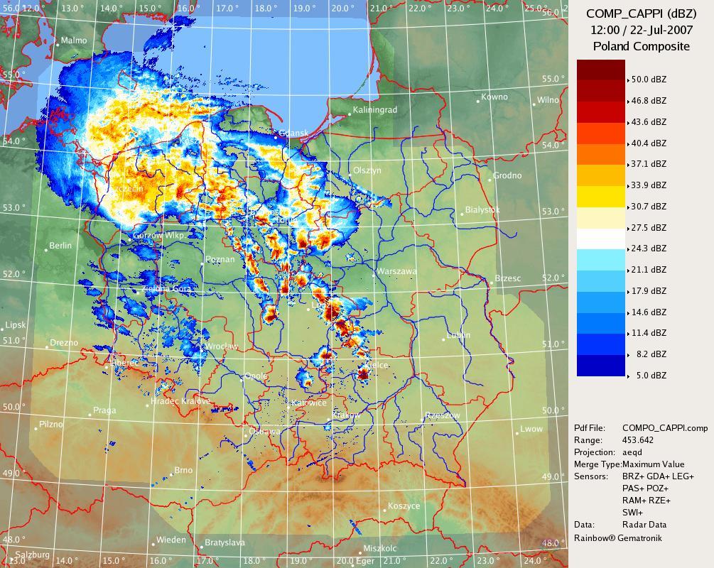 Zbiorcza mapa radarowa obszaru Polski z dnia 22.07.2007 godz. 12 UTC