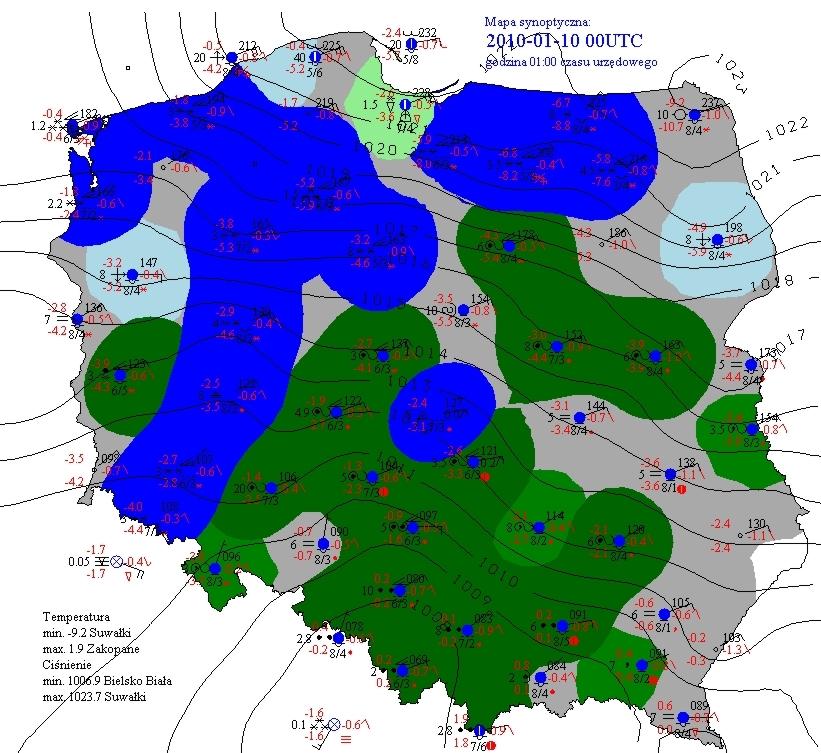 Mapa synoptyczna Polski z godz. 00 UTC 10.01.2010 (IMGW PIB, 2010)