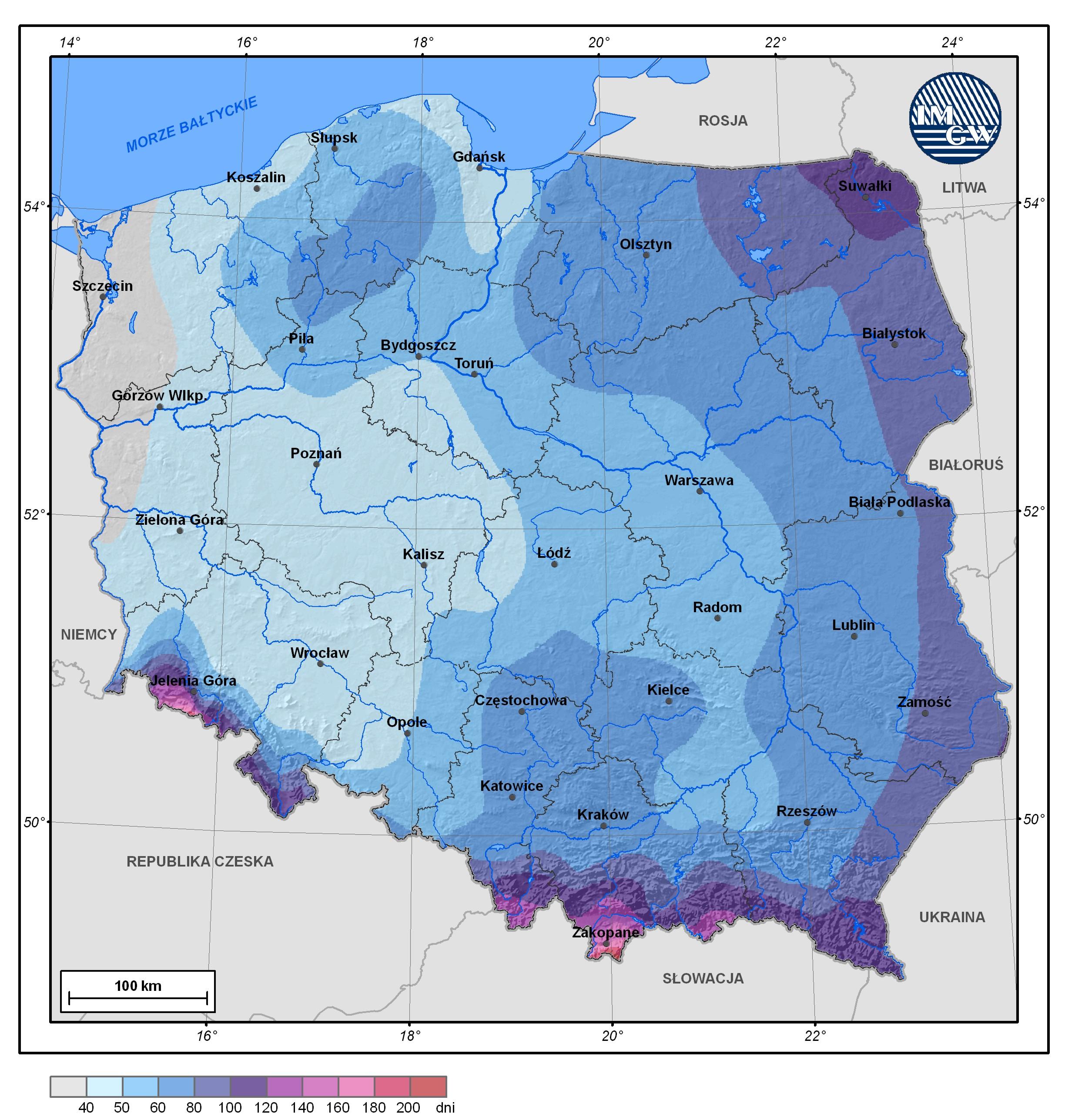 Średnia roczna liczba dni z pokrywą śnieżną w Polsce